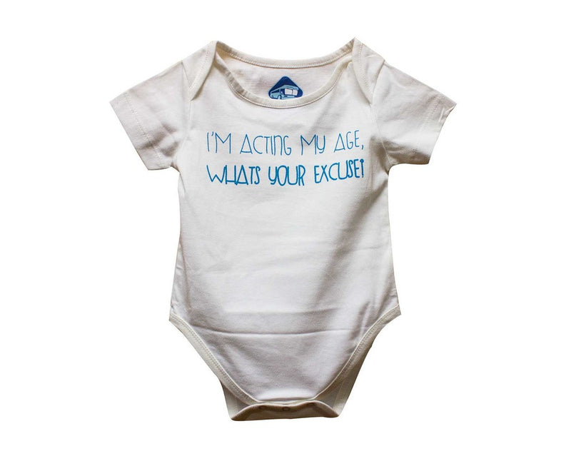 Blue Bus Store White I'm Acting My Age Whats Your Excuse Printed Romper