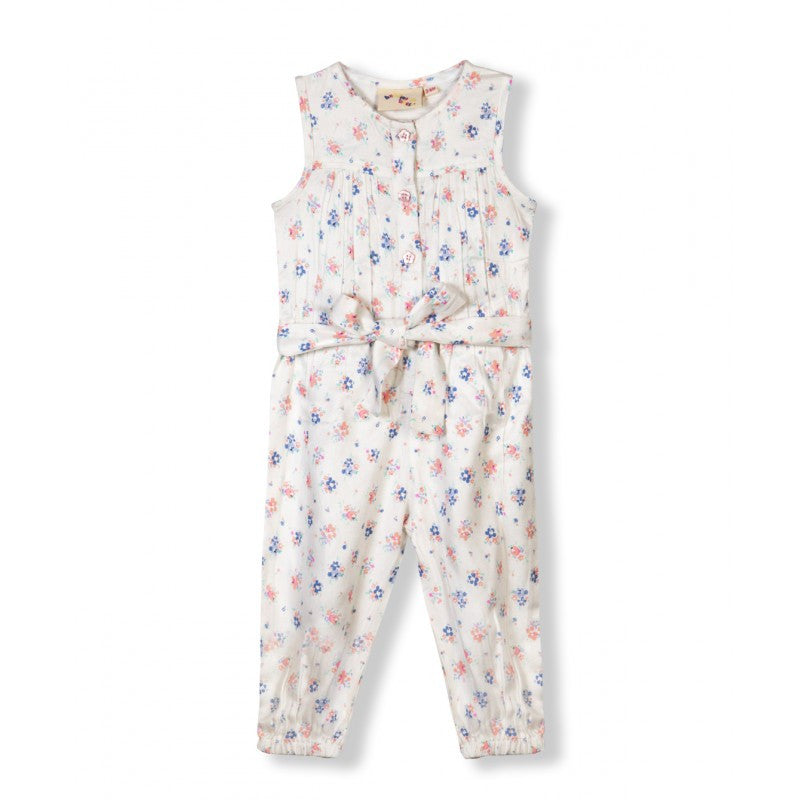 Budding Bees Girls Off White Floral Printed Jumpsuit