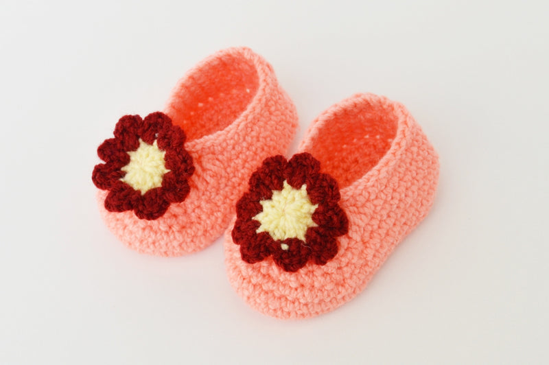 Love Crochet Art Peach and Red Knitted Flower Booties