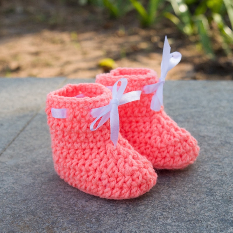 Love Crochet Art Peach Knitted Ankle Booties