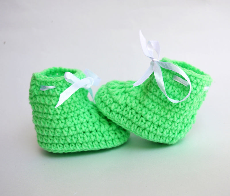 62b0d3e9e3ae ... Love Crochet Art Peach and Pista Green Knitted Combo Ankle Booties ...