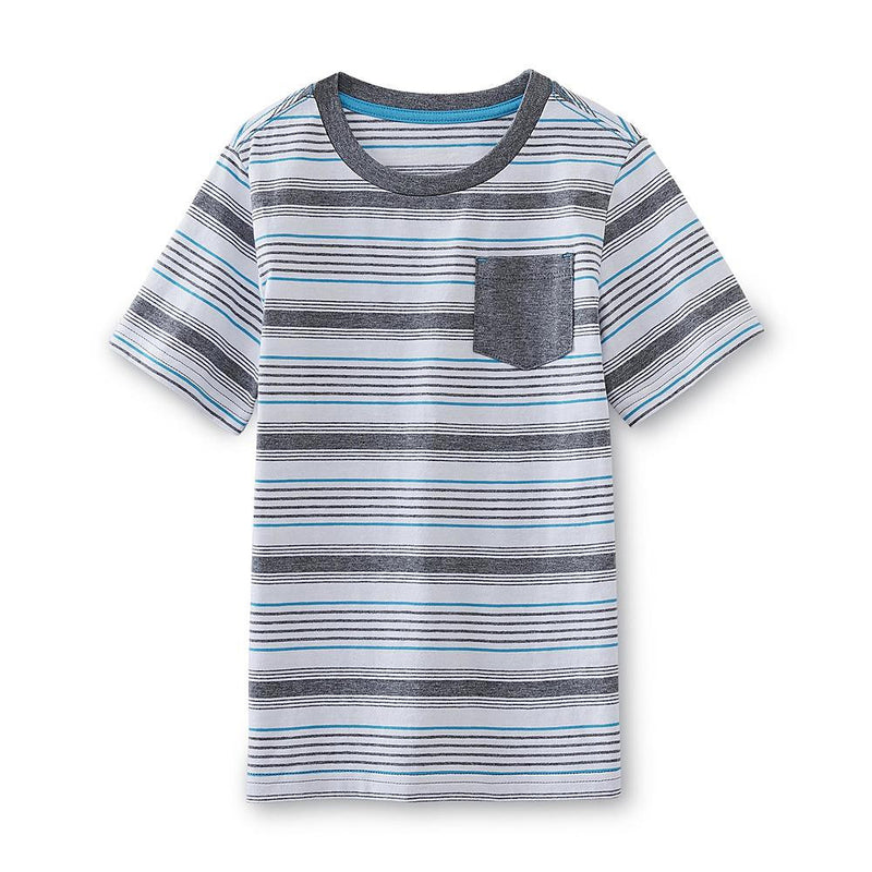 Munchkinz Boy's Jersey Knit White and Grey Striped T-Shirt