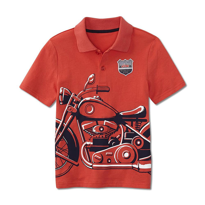Munchkinz Boy's Graphic Motorcycle Printed Polo Shirt