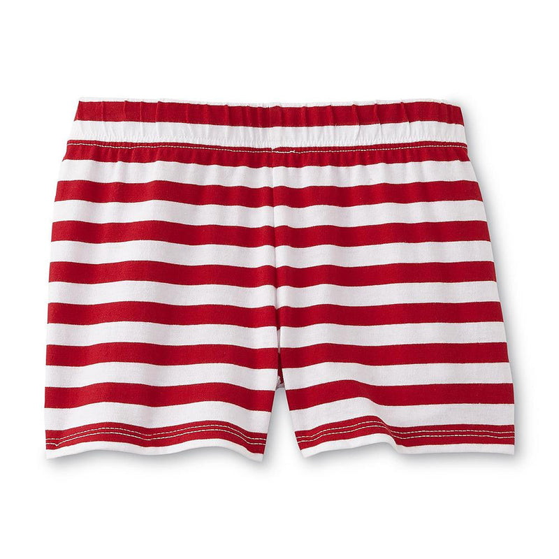 Munchkinz Girl's Red and White Stripedd Shorts