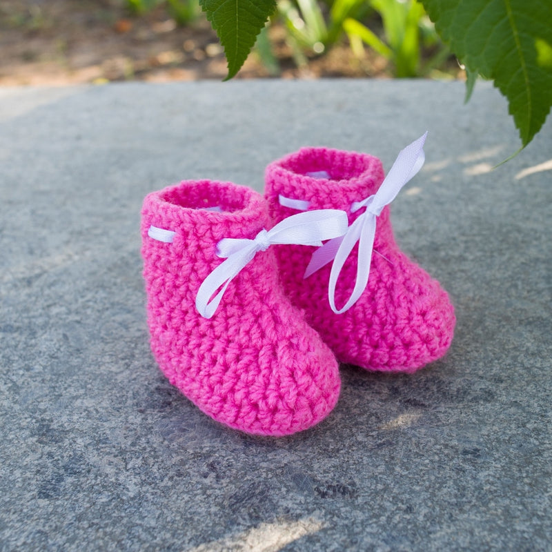 Love Crochet Art Dark Pink Knitted Ankle Booties