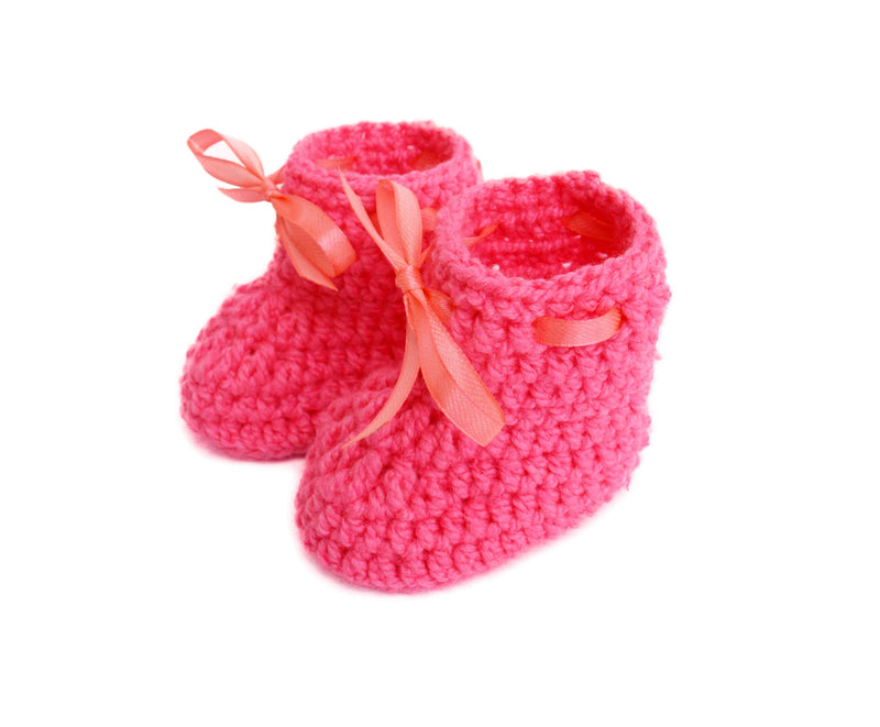 Love Crochet Art Pink Knitted Ankle Booties