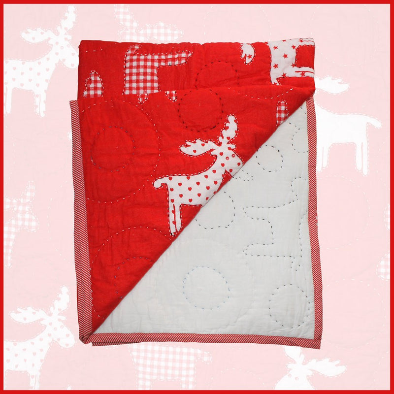 Bumble Bee Red Reindeer Hand Quilt