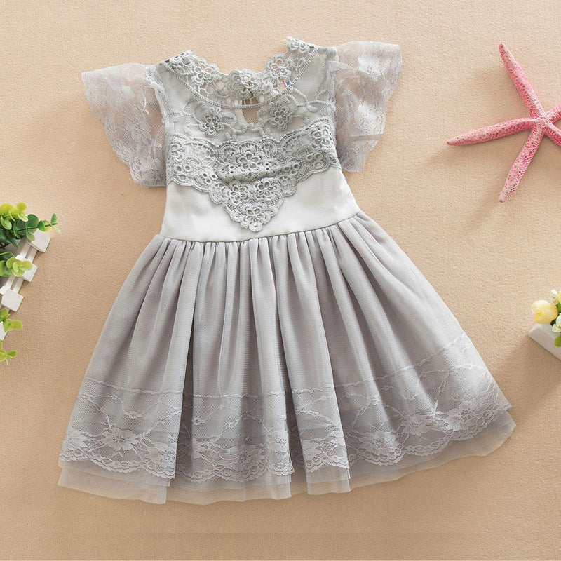 Aww Hunnie Grey Yoke Dress