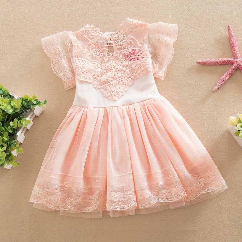 Aww Hunnie Peach Yoke Dress