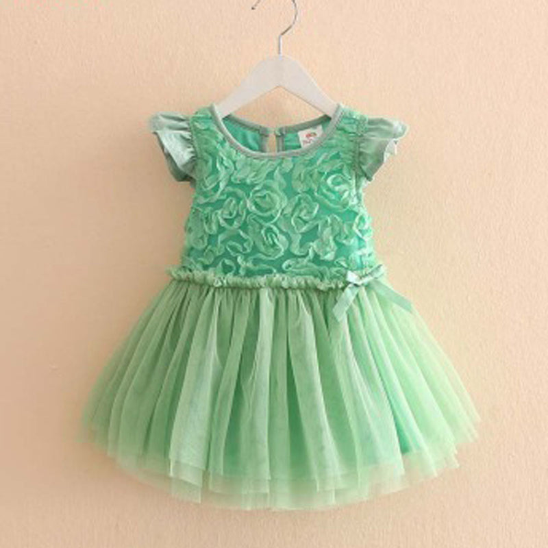 Aww Hunnie Green Pretty Rose Dress