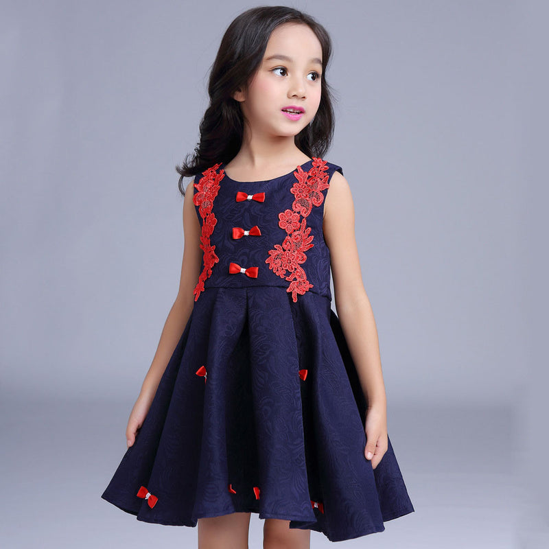 Aww Hunnie Navy Blue Lace A Line Dress