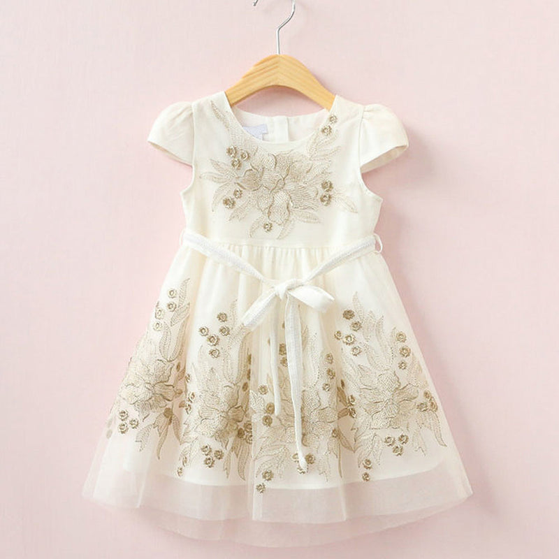 Aww Hunnie Cream Summer A Line Frock