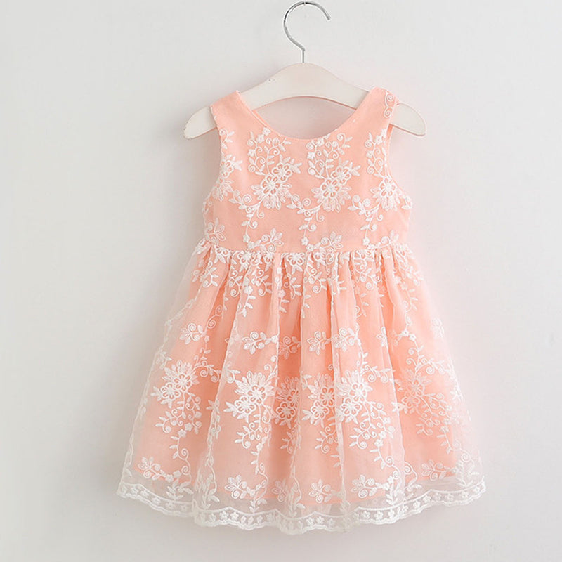 Aww Hunnie Peach A Line Floral Party Dress