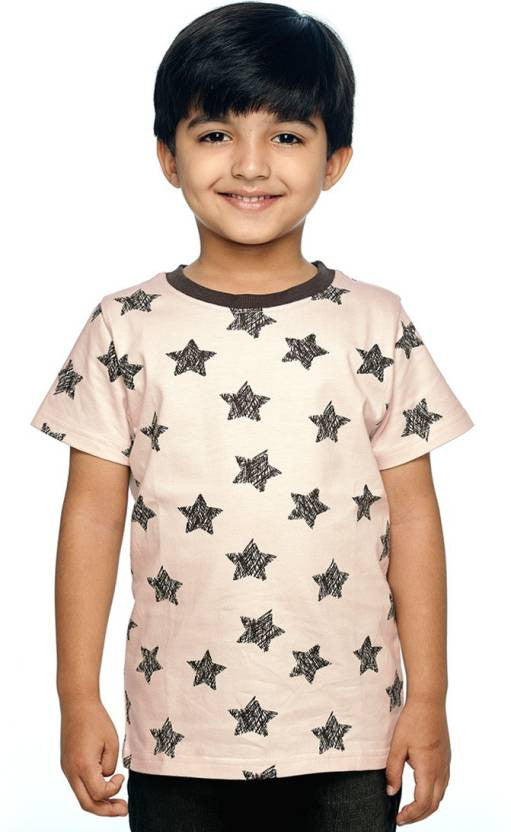 Ventra Boys Pink Allover Stars Printed T-shirt