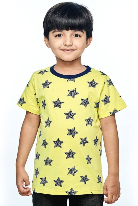 Ventra Boys Yellow Allover Stars Printed T-shirt