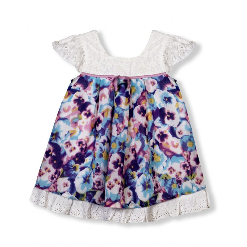 Budding Bees Girls White and Blue Gathered Dress