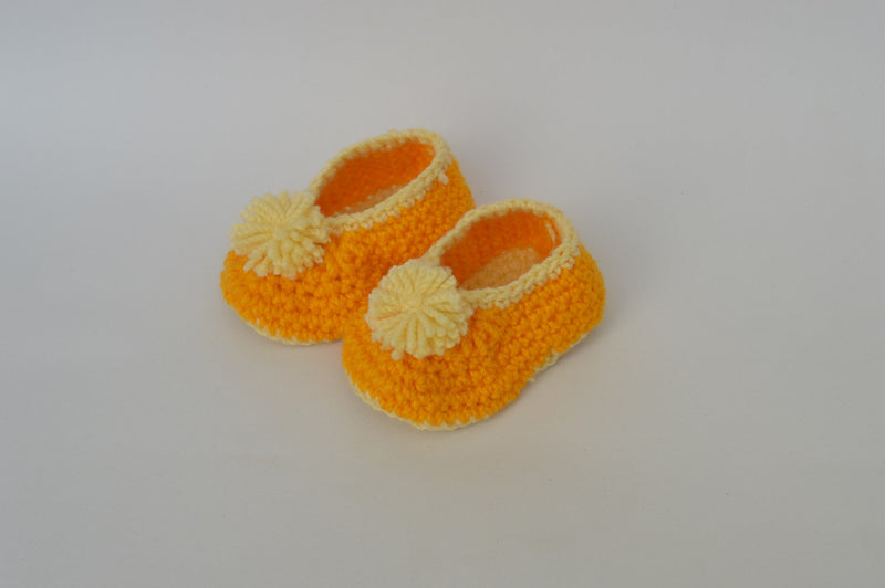 Love Crochet Art Orange and Yellow Knitted Flower Booties