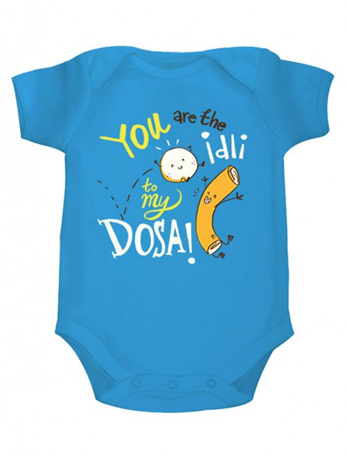 Zeezeezoo Kids Blue Idli to my Dosa Printed Onesie