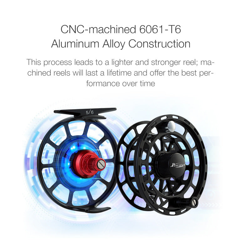 Fully CNC-machined Aluminum spool and frame fly reel