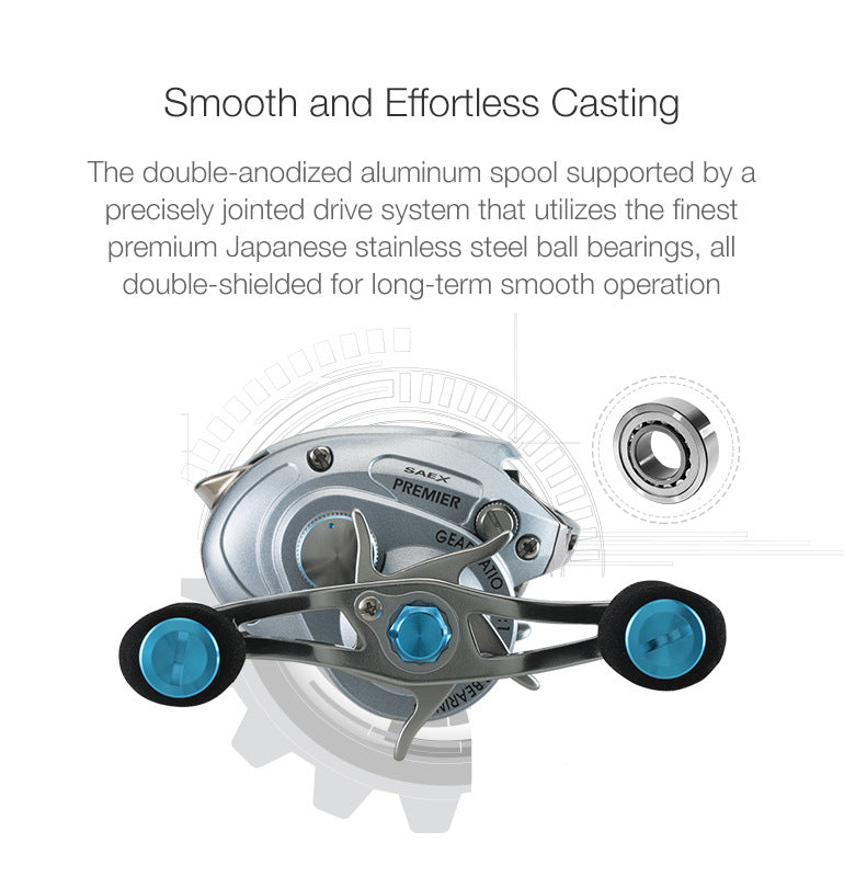 double-anodized aluminum spool supported by a precisely jointed drive system,makes the reel smooth and effortless casting