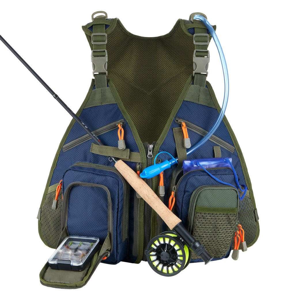 Piscifun® Fly Fishing Vest for Tackle and Gear Includes Water Bladder & Waterproof Phone Pouch