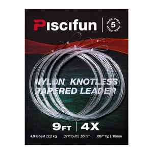 Piscifun® Fly Fishing Tapered Leader with Loop 5-Pack