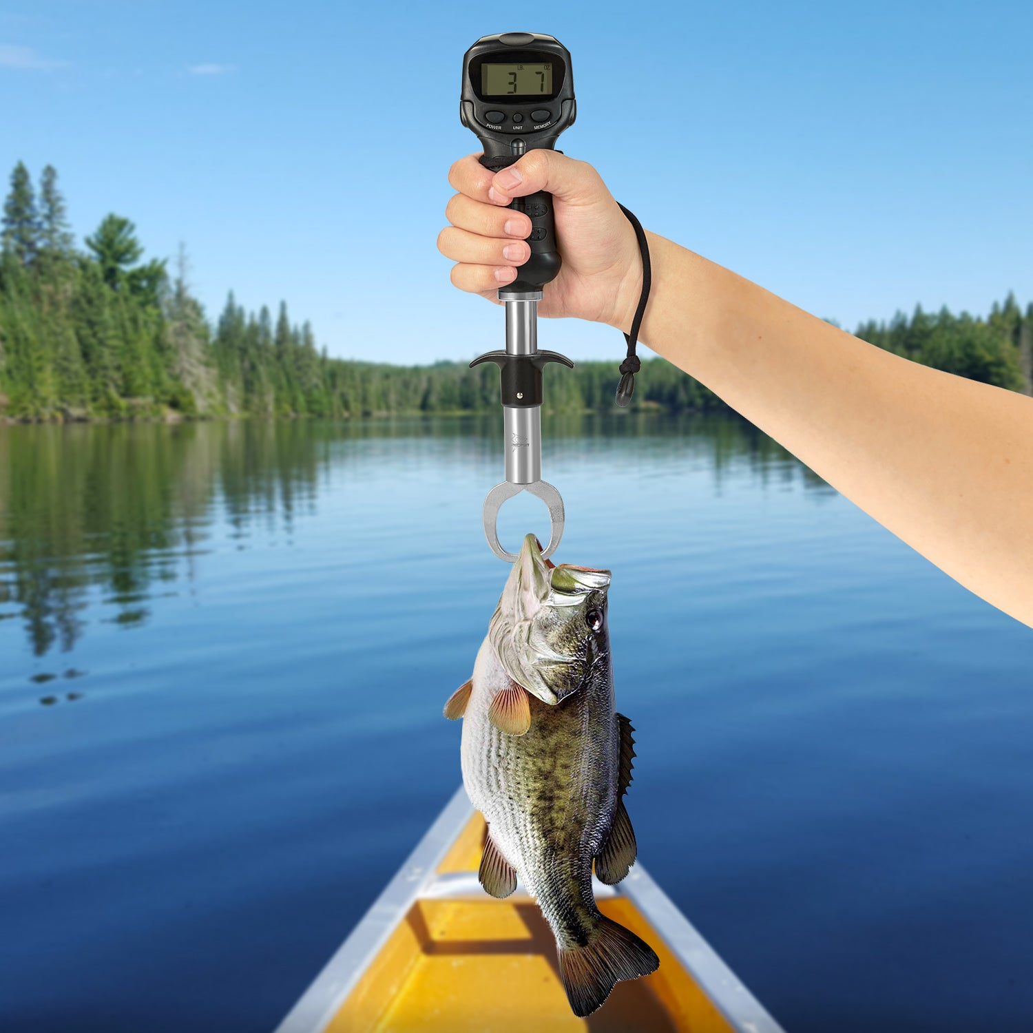 Piscifun Fish Lip Gripper with Digital Scale Waterproof Lip Grip with Electronic Digital Scale Fish Grabber Stainless Steel Clip Fish Control