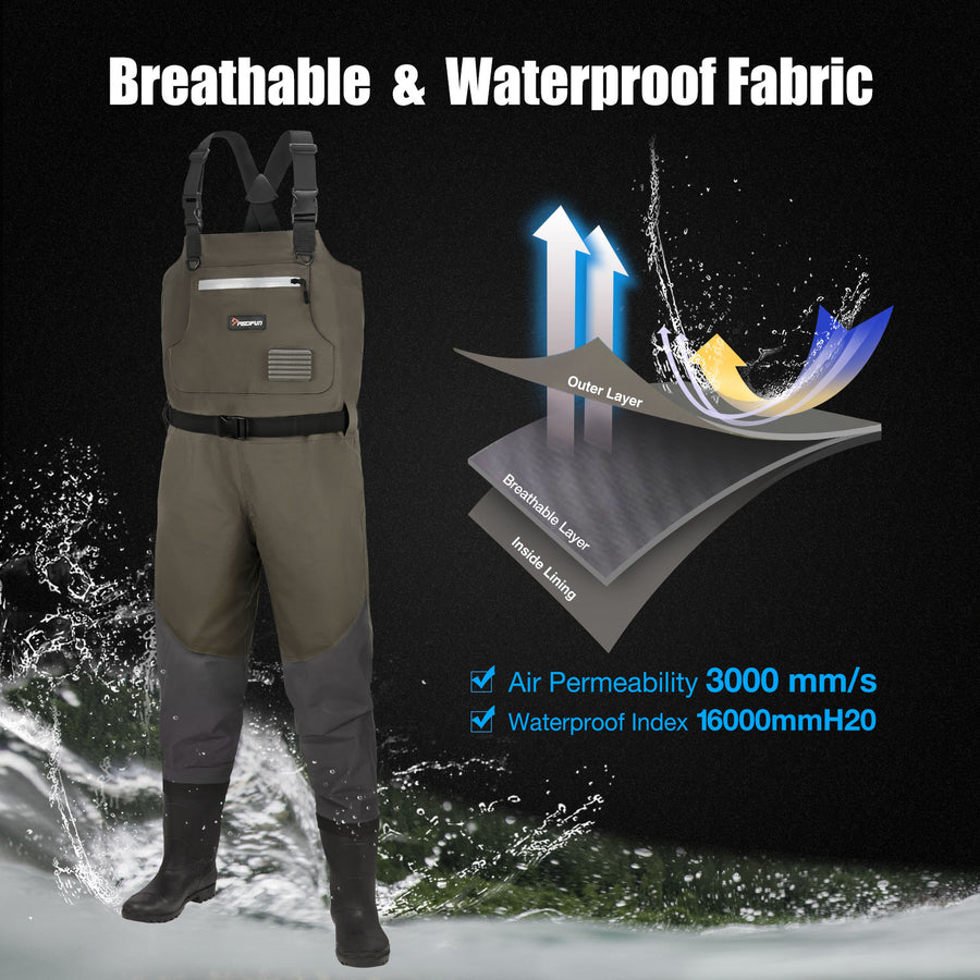 Piscifun® BX Breathable & Waterprooof Chest Waders