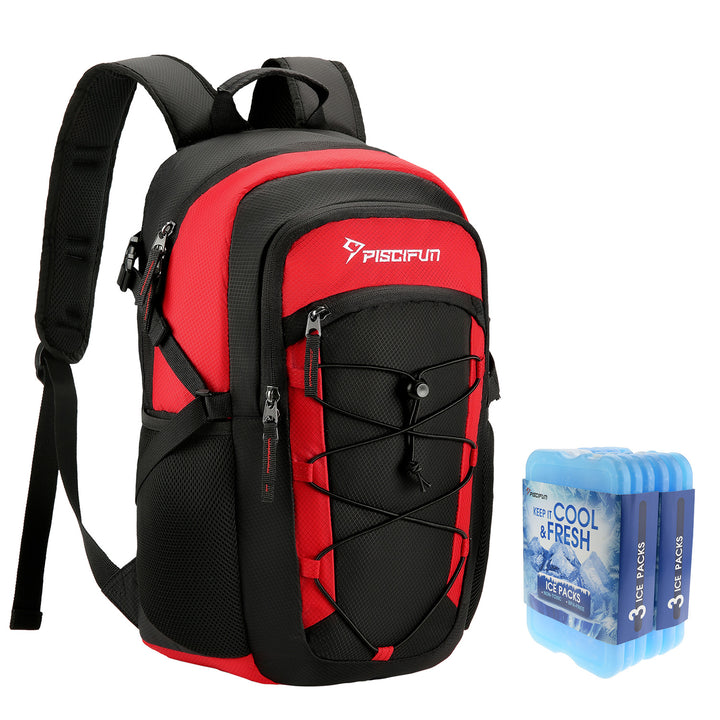 Piscifun® Insulated Cooler Backpack with 6 Ice Packs Leakproof Cooler Bag