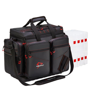 Piscifun® Travel Pro Fishing Tackle Bag with 4 Trays Large Water-Resistant Fishing Tray Bags Outdoor Fishing Tackle Storage Bag with 3600 or 3700 Tackle Boxes (Only Delivered within the US)