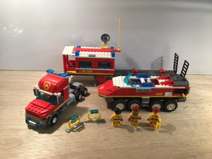 Pre-owned LEGO® 4430m Truck, Trailer, Command Station, Fire Truck with 3 Fireman.