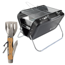 Portable Folding Picnic and Camping BBQ with Multi Tool Grilling Kit