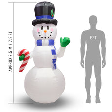 Inflatable Giant Christmas Snowman with LED Lights - 2.4m (7ft 11) - Outdoor and Indoor Use