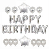 Happy Birthday Balloon Banner Deluxe Party Pack - Silver