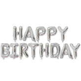 Happy Birthday Balloon Banner - Silver