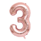 "Rose Gold Foil Party Balloon - 80cm (32"") - Number 3"