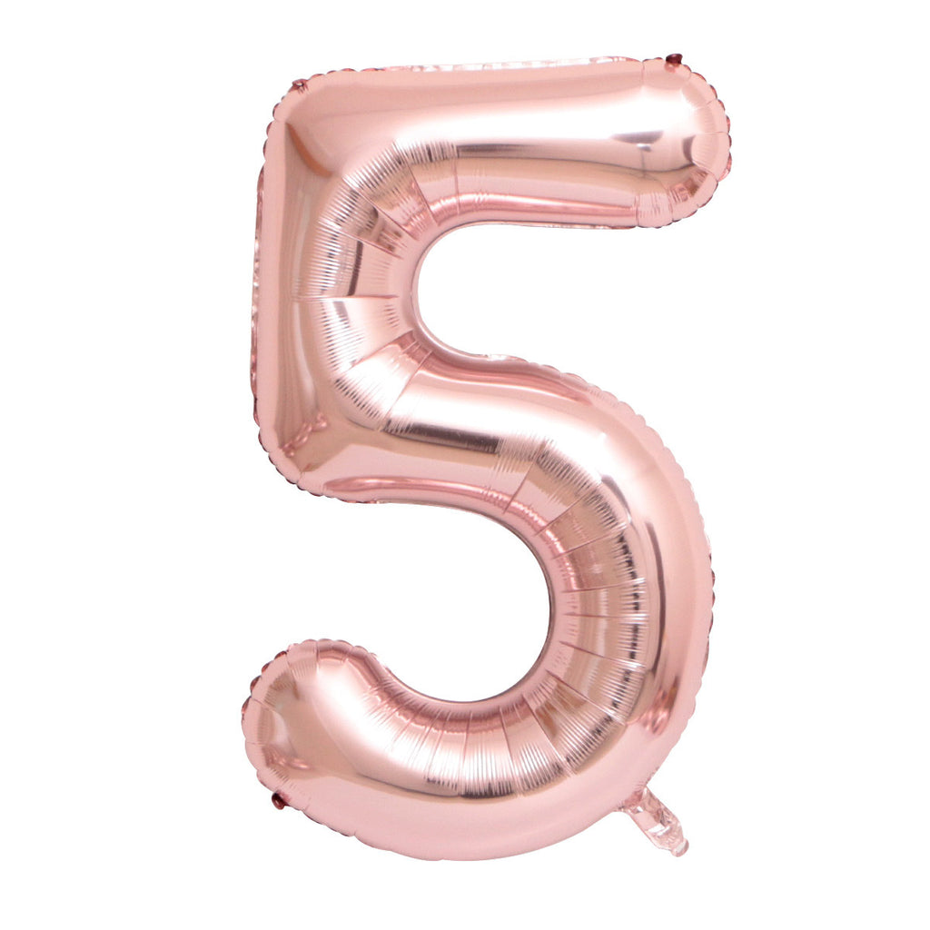 "Rose Gold Foil Party Balloon - 80cm (32"") - Number 5"
