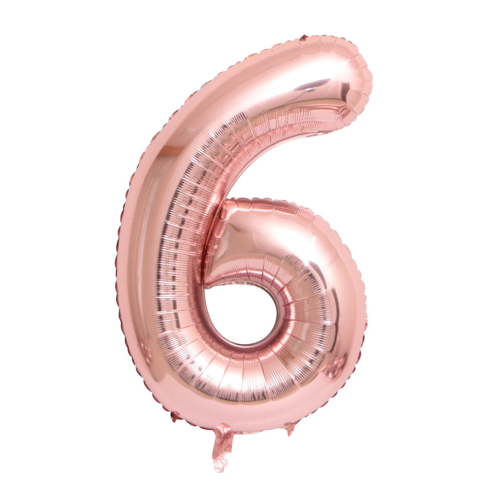 "Rose Gold Foil Party Balloon - 80cm (32"") - Number 6"