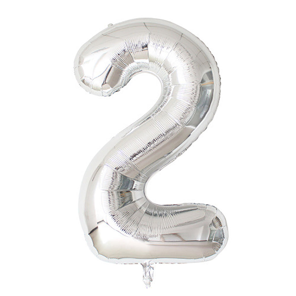 "Silver Foil Party Balloon - 80cm (32"") - Number 2"