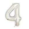"Silver Foil Party Balloon - 80cm (32"") - Number 4"