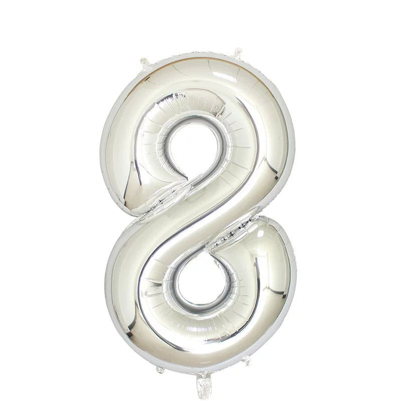 "Silver Foil Party Balloon - 80cm (32"") - Number 8"