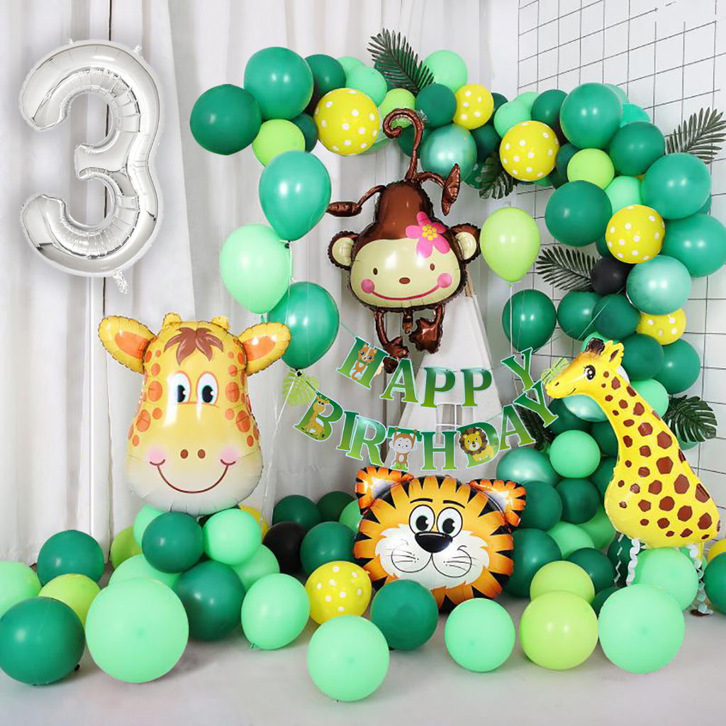 Jungle Themed 3rd Birthday Balloon Arch Decoration DIY Kit - Includes 75+ Balloons