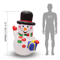 Inflatable Christmas Snowman with LED Lights - 1.2m (4ft) - Outdoor and Indoor Use