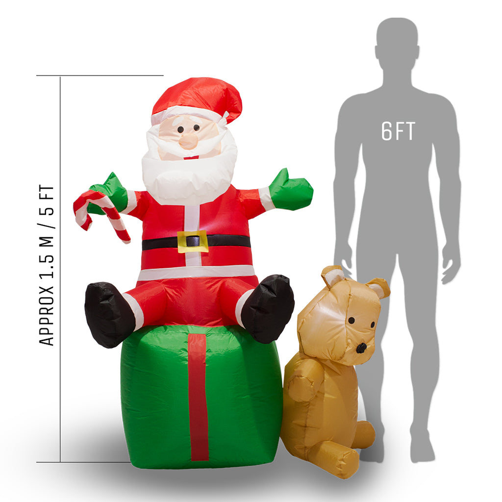 Inflatable Sitting Santa with LED Lights - 1.5m (5ft) - Outdoor and Indoor Use
