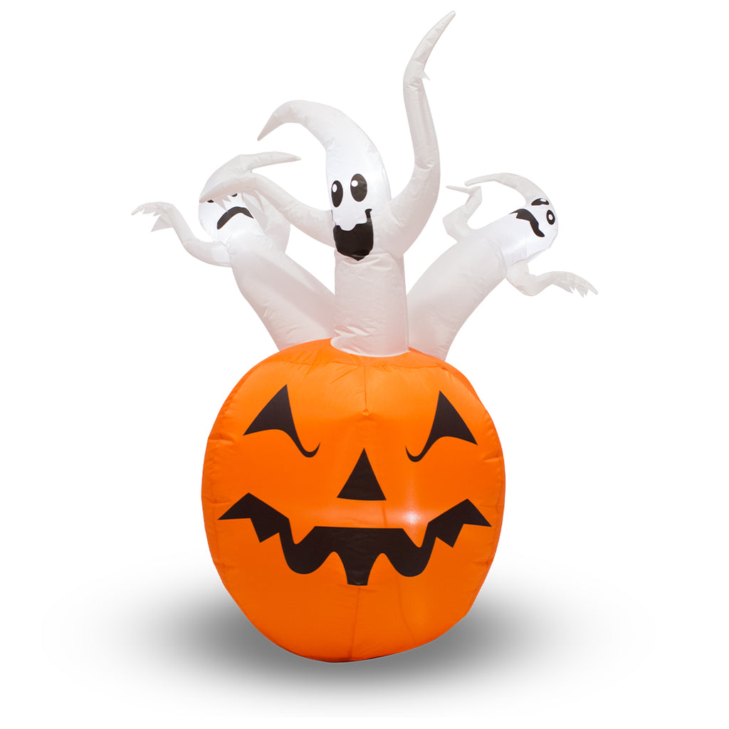 Inflatable Halloween Ghost Pumpkin with LED Lights - 1.5m (5ft)
