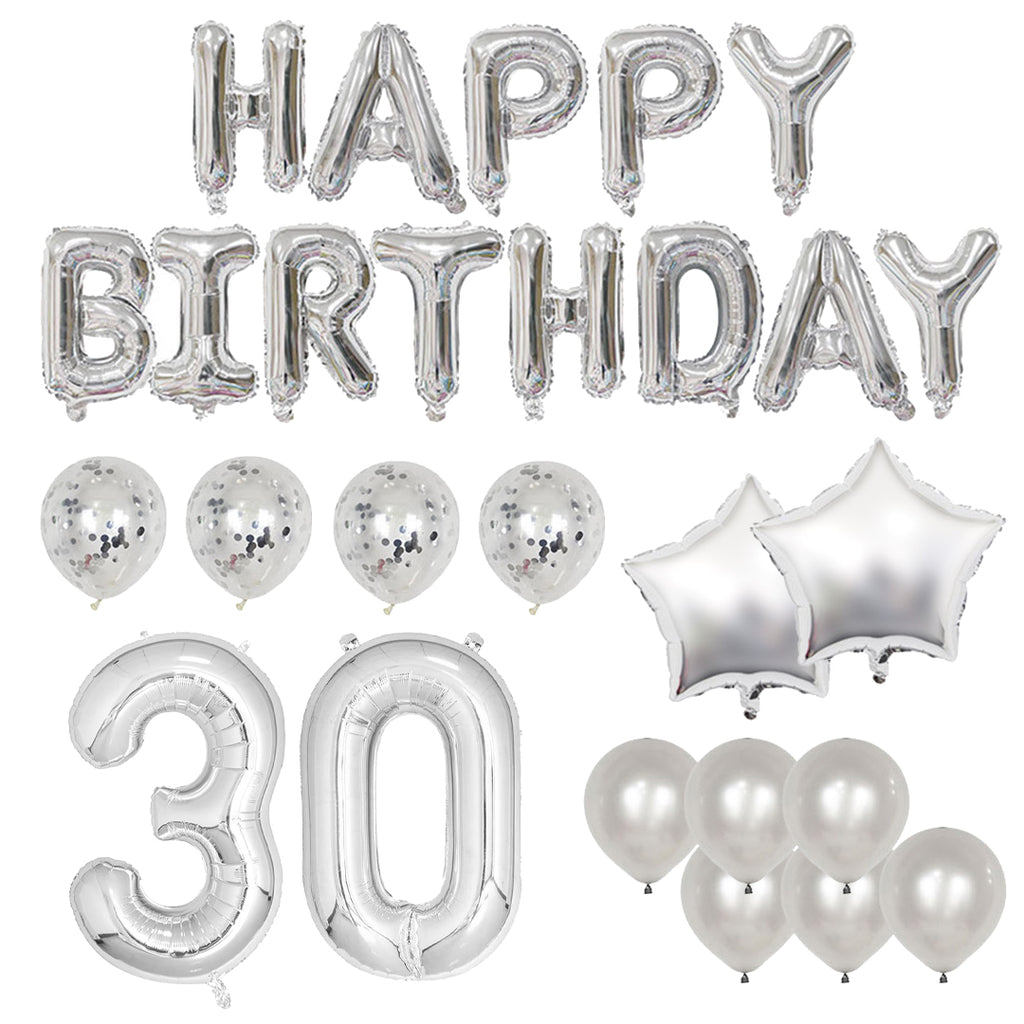 Happy 30th Birthday Balloon Banner Deluxe Party Pack - Silver
