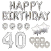 Happy 40th Birthday Balloon Banner Deluxe Party Pack - Silver