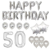 Happy 50th Birthday Balloon Banner Deluxe Party Pack - Silver
