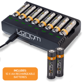 Rechargeable Battery 8-Capacity Charging Dock plus 10 x AA 1000mAh Rechargeable Batteries
