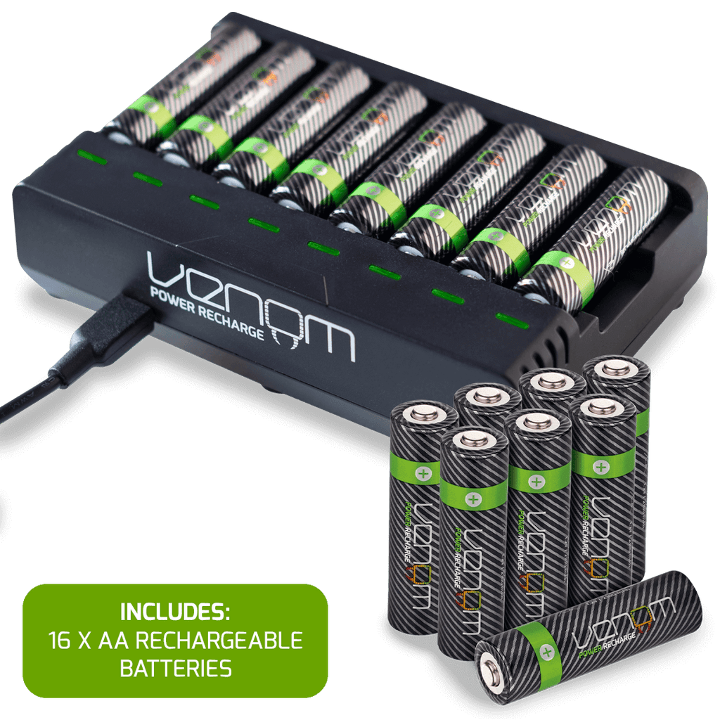 Rechargeable Battery 8-Capacity Charging Dock plus 16 x AA 2100mAh Rechargeable Batteries